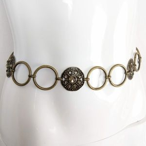 Antique Brass Finish Bejeweled Adjustable Belt